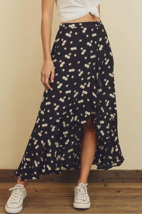 Daisy Print Maxi Skirt