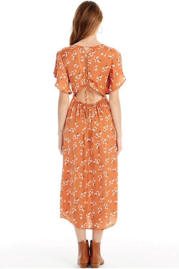 Orange Floral Dress Back