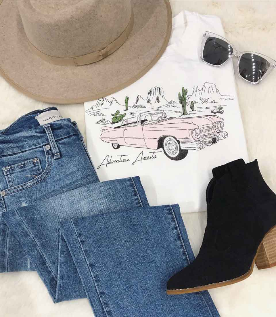 jeans tee and booties